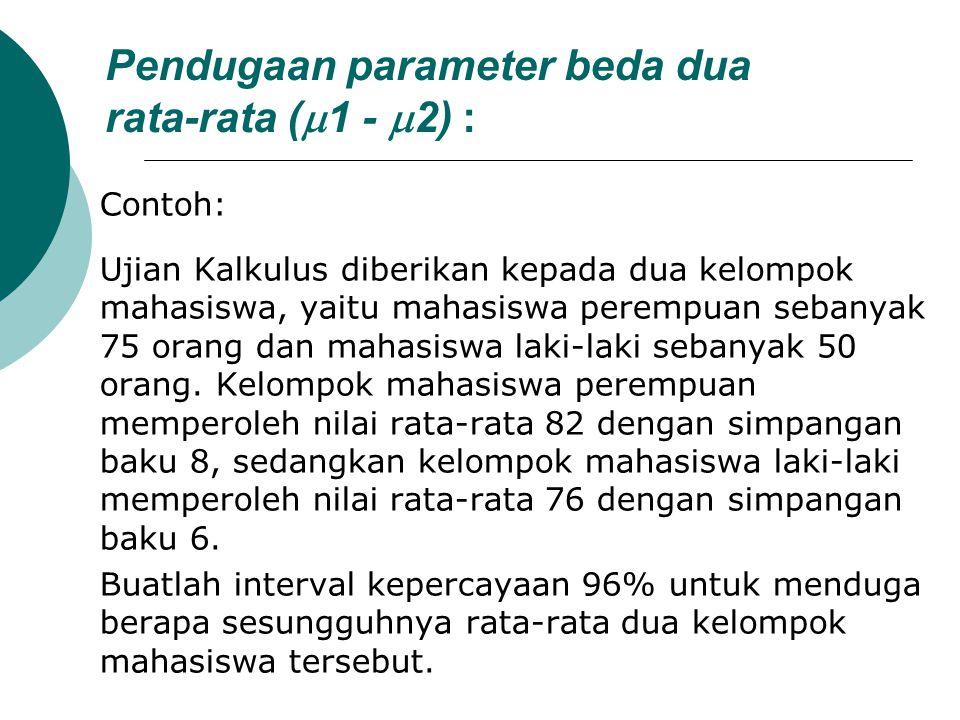 Pendugaan parameter beda dua rata-rata (  1 -  2) : Contoh: Ujian Kalkulus diberikan kepada dua kelompok mahasiswa, yaitu mahasiswa perempuan sebany