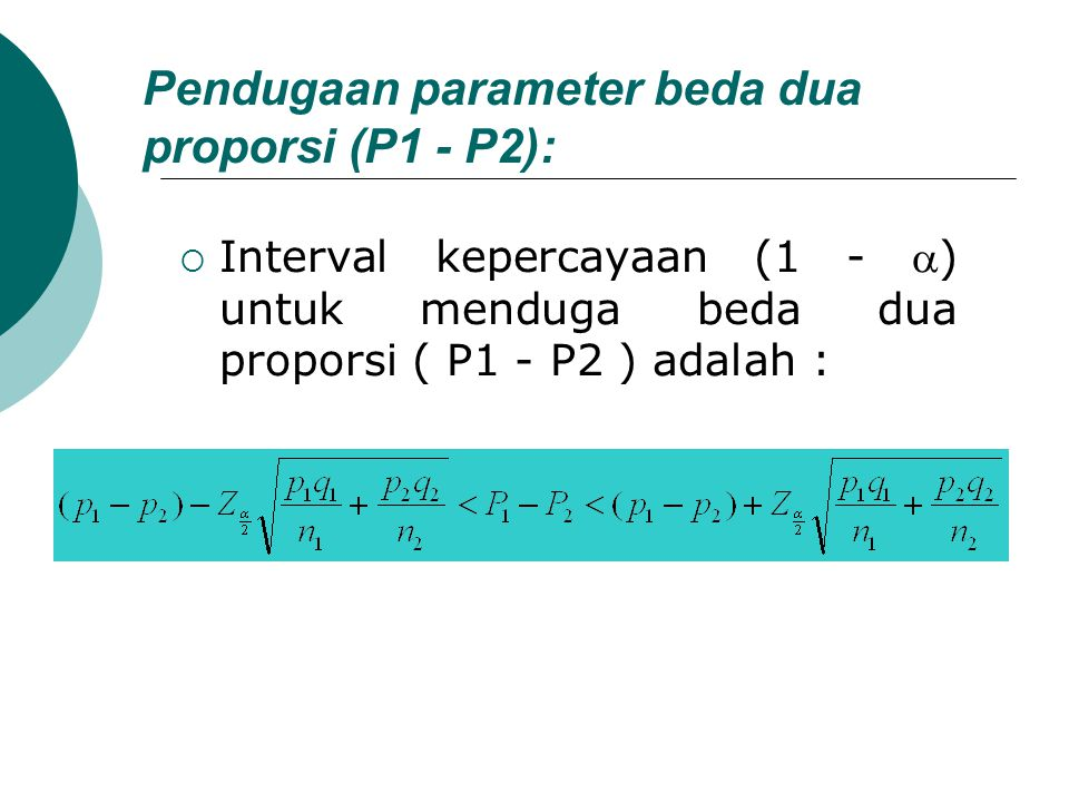 Pendugaan parameter beda dua proporsi (P1 - P2):  Interval kepercayaan (1 - ) untuk menduga beda dua proporsi ( P1 - P2 ) adalah :