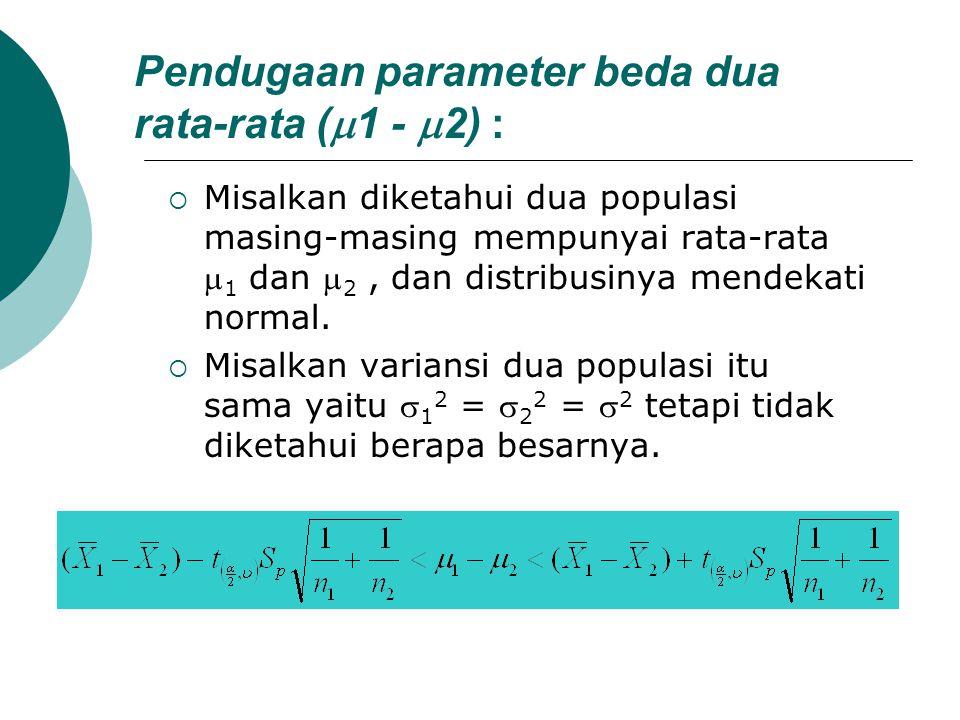 Pendugaan parameter beda dua rata-rata (  1 -  2) :  Misalkan diketahui dua populasi masing-masing mempunyai rata-rata  1 dan  2, dan distribusin