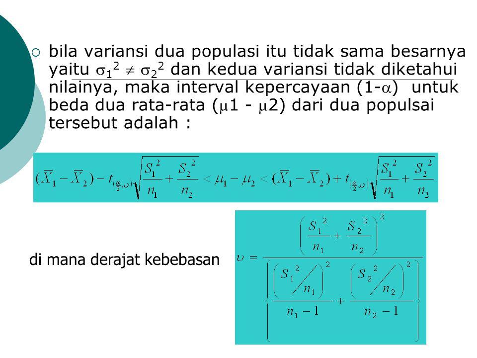  bila variansi dua populasi itu tidak sama besarnya yaitu  1 2   2 2 dan kedua variansi tidak diketahui nilainya, maka interval kepercayaan (1-)