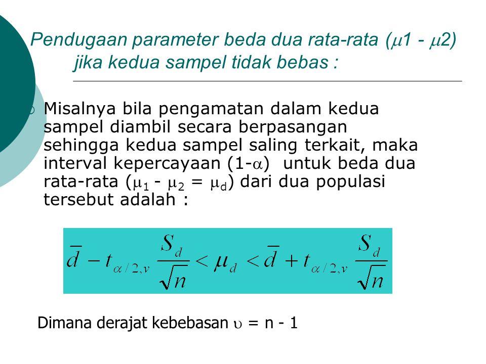 Pendugaan parameter beda dua rata-rata (  1 -  2) jika kedua sampel tidak bebas :  Misalnya bila pengamatan dalam kedua sampel diambil secara berpa