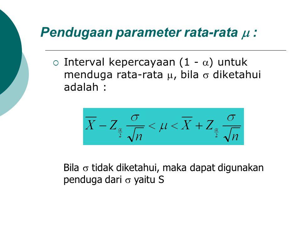 Pendugaan parameter rata-rata  :  Interval kepercayaan (1 - ) untuk menduga rata-rata , bila  diketahui adalah : Bila  tidak diketahui, maka dap