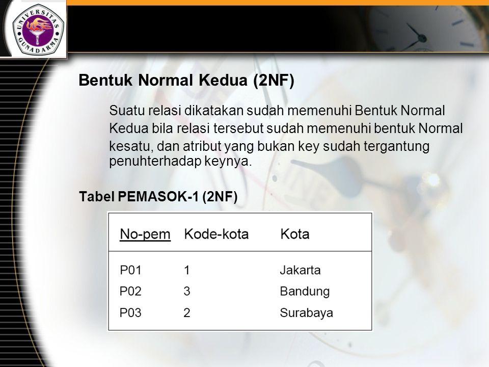Bentuk Normal Kedua (2NF) Suatu relasi dikatakan sudah memenuhi Bentuk Normal Kedua bila relasi tersebut sudah memenuhi bentuk Normal kesatu, dan atri
