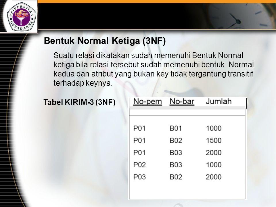 Bentuk Normal Ketiga (3NF) Suatu relasi dikatakan sudah memenuhi Bentuk Normal ketiga bila relasi tersebut sudah memenuhi bentuk Normal kedua dan atri