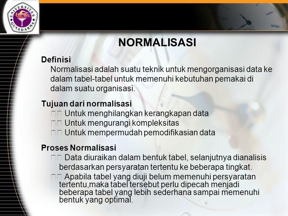 NORMALISASI Definisi Normalisasi adalah suatu teknik untuk mengorganisasi data ke dalam tabel-tabel untuk memenuhi kebutuhan pemakai di dalam suatu or
