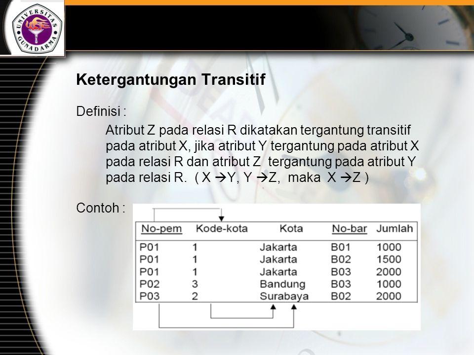 Ketergantungan Transitif Definisi : Atribut Z pada relasi R dikatakan tergantung transitif pada atribut X, jika atribut Y tergantung pada atribut X pa