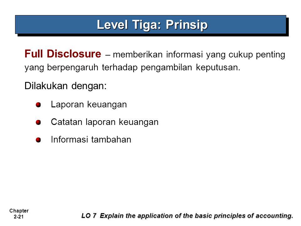 Chapter 2-21 Full Disclosure – memberikan informasi yang cukup penting yang berpengaruh terhadap pengambilan keputusan.