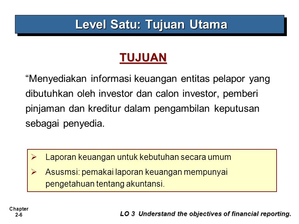 Chapter 2-6 Menyediakan informasi keuangan entitas pelapor yang dibutuhkan oleh investor dan calon investor, pemberi pinjaman dan kreditur dalam pengambilan keputusan sebagai penyedia.