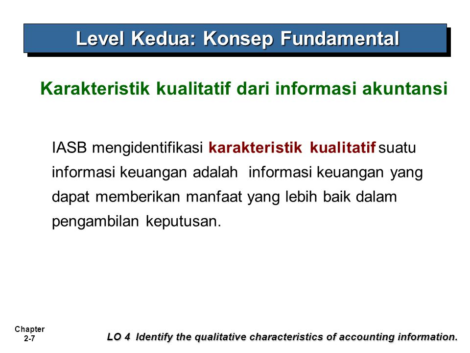 Chapter 2-8 Illustration 2-2 Hierarchy of Accounting Qualities LO 4 Identify the qualitative characteristics of accounting information.