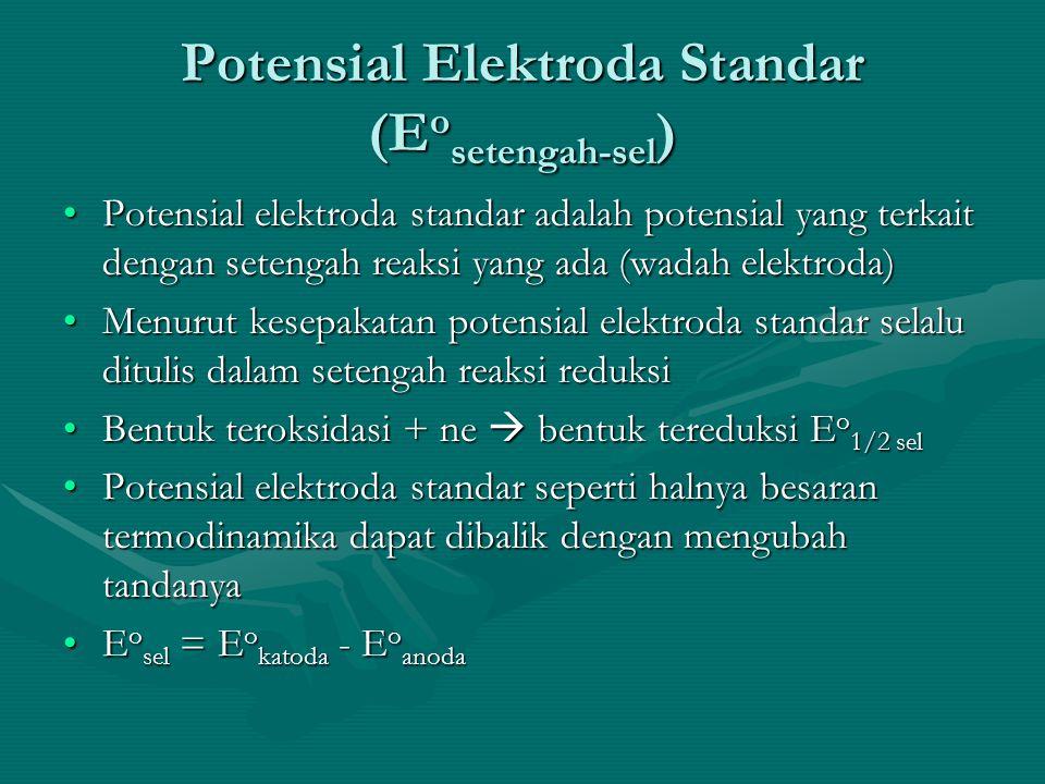 Potensial Elektroda Standar (E o setengah-sel ) Potensial elektroda standar adalah potensial yang terkait dengan setengah reaksi yang ada (wadah elektroda)Potensial elektroda standar adalah potensial yang terkait dengan setengah reaksi yang ada (wadah elektroda) Menurut kesepakatan potensial elektroda standar selalu ditulis dalam setengah reaksi reduksiMenurut kesepakatan potensial elektroda standar selalu ditulis dalam setengah reaksi reduksi Bentuk teroksidasi + ne  bentuk tereduksi E o 1/2 selBentuk teroksidasi + ne  bentuk tereduksi E o 1/2 sel Potensial elektroda standar seperti halnya besaran termodinamika dapat dibalik dengan mengubah tandanyaPotensial elektroda standar seperti halnya besaran termodinamika dapat dibalik dengan mengubah tandanya E o sel = E o katoda - E o anodaE o sel = E o katoda - E o anoda