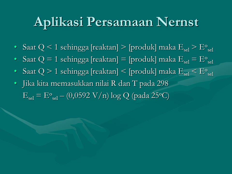 Aplikasi Persamaan Nernst Saat Q [produk] maka E sel > E o selSaat Q [produk] maka E sel > E o sel Saat Q = 1 sehingga [reaktan] = [produk] maka E sel