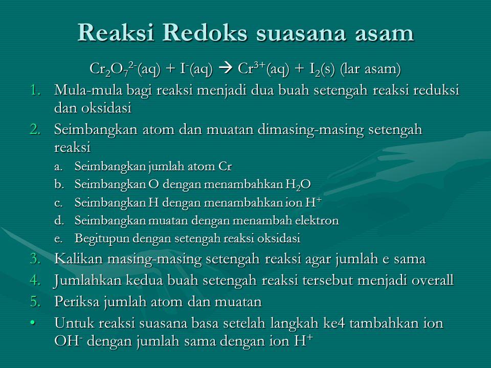 Reaksi Redoks suasana asam Cr 2 O 7 2- (aq) + I - (aq)  Cr 3+ (aq) + I 2 (s) (lar asam) 1.Mula-mula bagi reaksi menjadi dua buah setengah reaksi reduksi dan oksidasi 2.Seimbangkan atom dan muatan dimasing-masing setengah reaksi a.Seimbangkan jumlah atom Cr b.Seimbangkan O dengan menambahkan H 2 O c.Seimbangkan H dengan menambahkan ion H + d.Seimbangkan muatan dengan menambah elektron e.Begitupun dengan setengah reaksi oksidasi 3.Kalikan masing-masing setengah reaksi agar jumlah e sama 4.Jumlahkan kedua buah setengah reaksi tersebut menjadi overall 5.Periksa jumlah atom dan muatan Untuk reaksi suasana basa setelah langkah ke4 tambahkan ion OH - dengan jumlah sama dengan ion H +Untuk reaksi suasana basa setelah langkah ke4 tambahkan ion OH - dengan jumlah sama dengan ion H +
