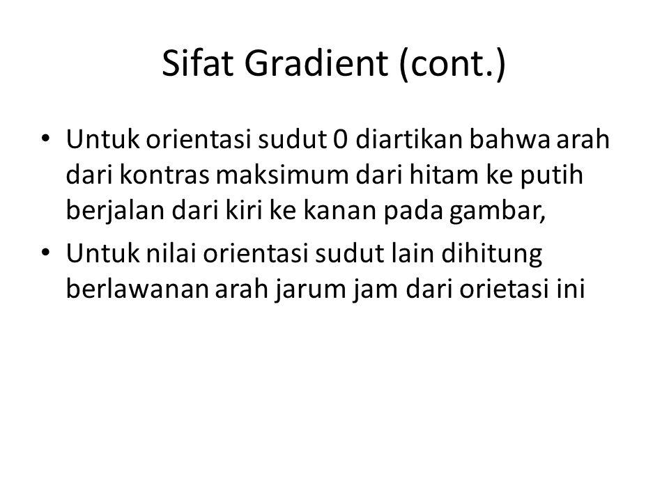Sifat Gradient (cont.) Untuk orientasi sudut 0 diartikan bahwa arah dari kontras maksimum dari hitam ke putih berjalan dari kiri ke kanan pada gambar,