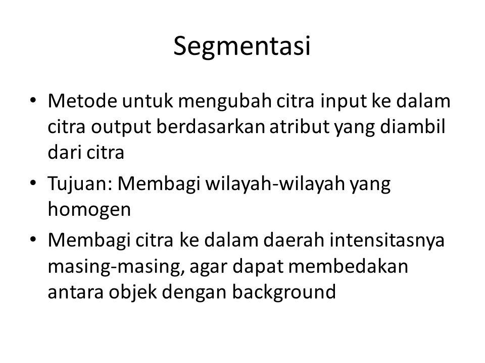 Segmentasi Metode untuk mengubah citra input ke dalam citra output berdasarkan atribut yang diambil dari citra Tujuan: Membagi wilayah-wilayah yang ho