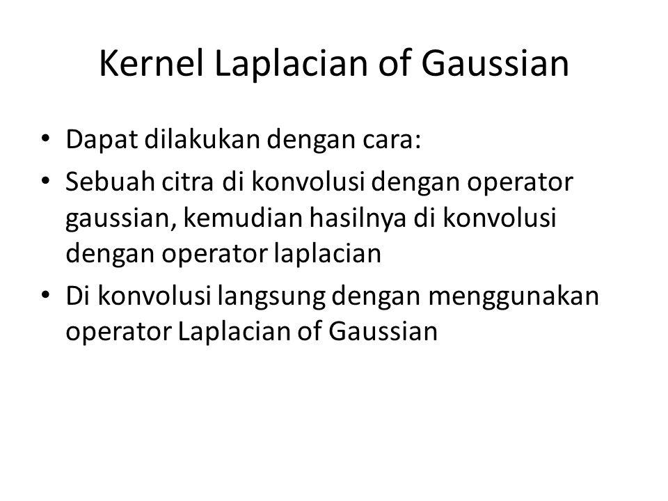 Kernel Laplacian of Gaussian Dapat dilakukan dengan cara: Sebuah citra di konvolusi dengan operator gaussian, kemudian hasilnya di konvolusi dengan op