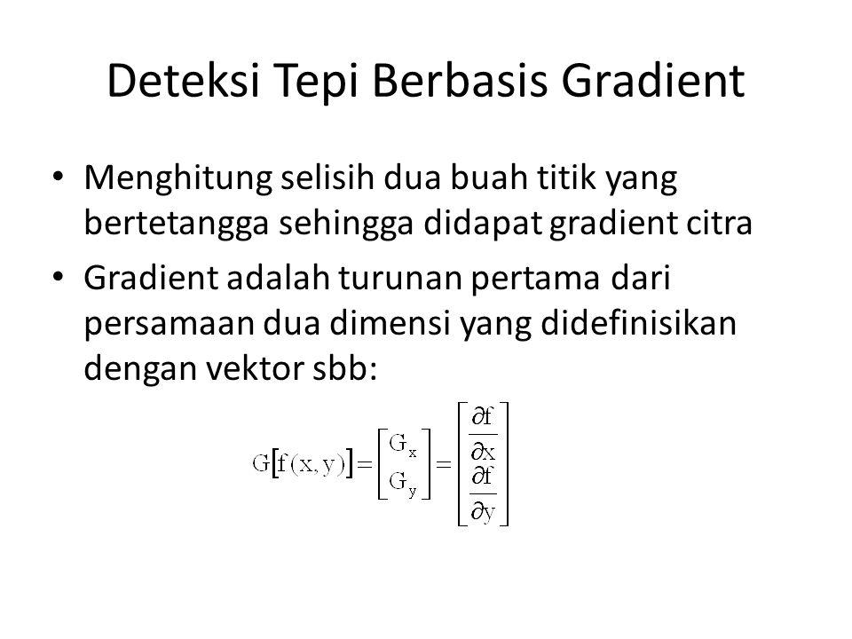 Deteksi Tepi Berbasis Gradient Menghitung selisih dua buah titik yang bertetangga sehingga didapat gradient citra Gradient adalah turunan pertama dari