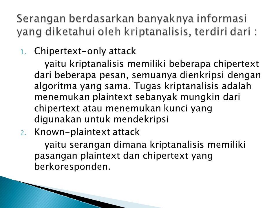 1. Chipertext-only attack yaitu kriptanalisis memiliki beberapa chipertext dari beberapa pesan, semuanya dienkripsi dengan algoritma yang sama. Tugas