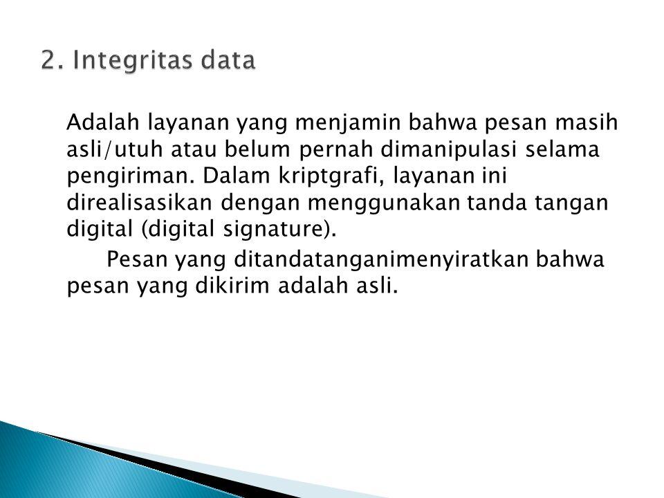 Adalah layanan yang menjamin bahwa pesan masih asli/utuh atau belum pernah dimanipulasi selama pengiriman. Dalam kriptgrafi, layanan ini direalisasika