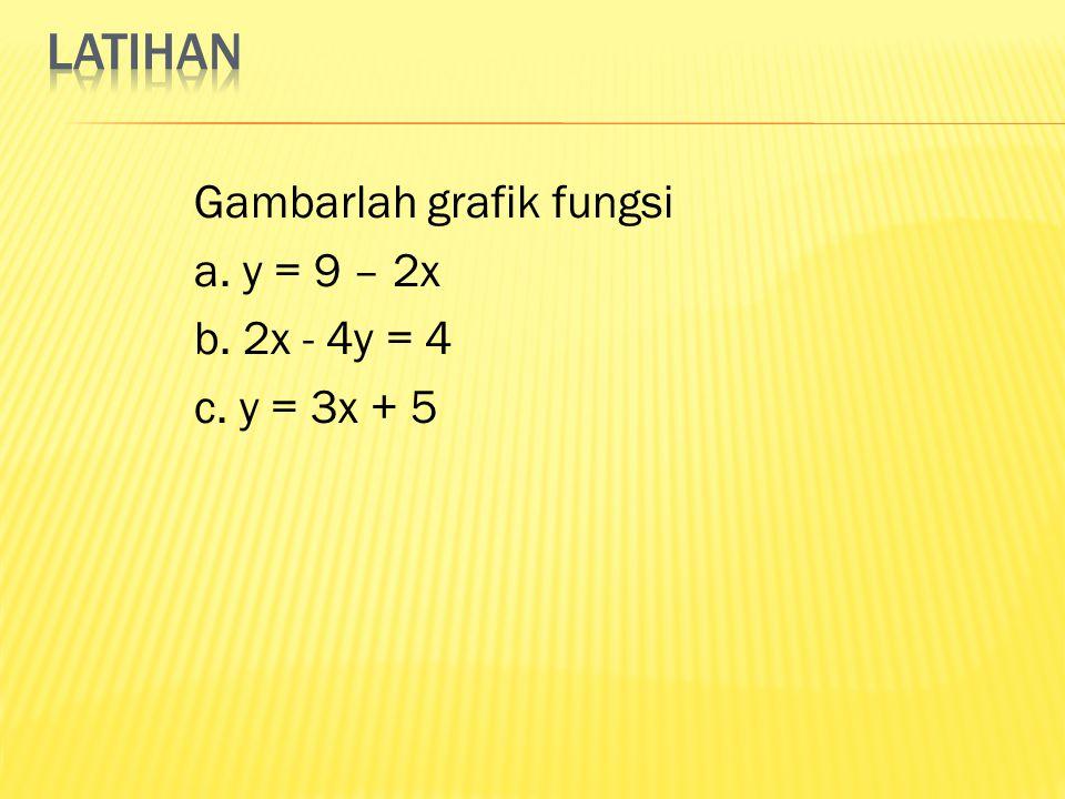 Gambarlah grafik fungsi a. y = 9 – 2x b. 2x - 4y = 4 c. y = 3x + 5