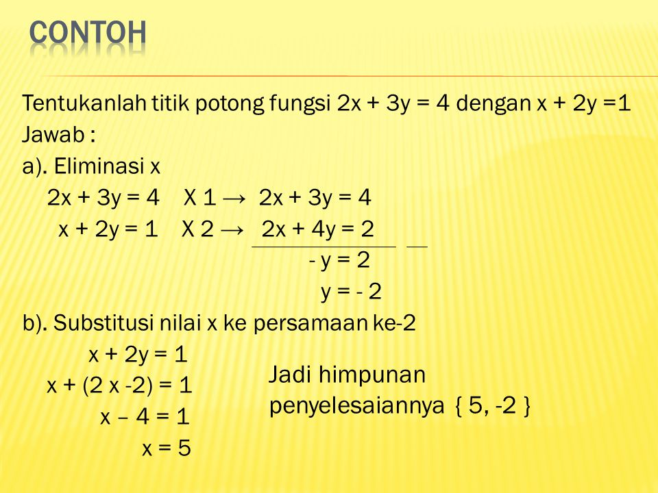 Tentukanlah titik potong fungsi 2x + 3y = 4 dengan x + 2y =1 Jawab : a). Eliminasi x 2x + 3y = 4 X 1 → 2x + 3y = 4 x + 2y = 1 X 2 → 2x + 4y = 2 - y =
