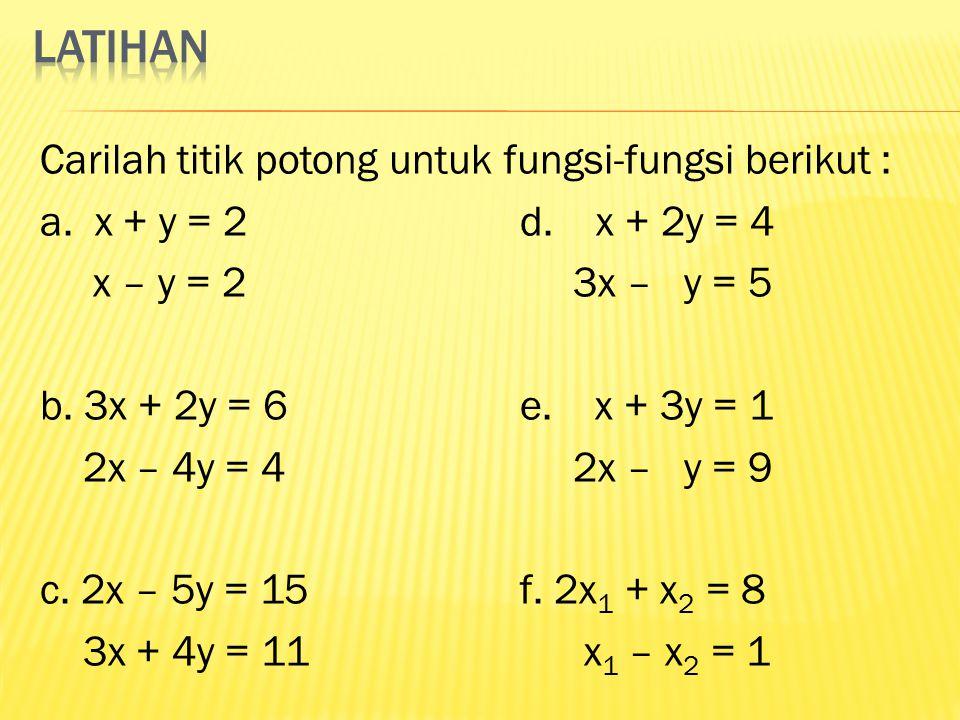 Carilah titik potong untuk fungsi-fungsi berikut : a. x + y = 2d. x + 2y = 4 x – y = 2 3x – y = 5 b. 3x + 2y = 6e. x + 3y = 1 2x – 4y = 4 2x – y = 9 c