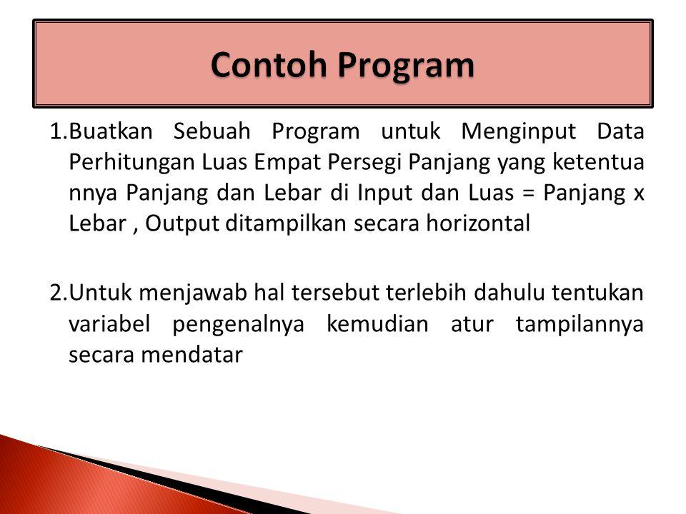 1.Buatkan Sebuah Program untuk Menginput Data Perhitungan Luas Empat Persegi Panjang yang ketentua nnya Panjang dan Lebar di Input dan Luas = Panjang