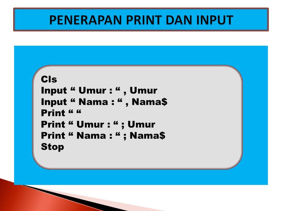 """Cls Input """" Umur : """", Umur Input """" Nama : """", Nama$ Print """" """" Print """" Umur : """" ; Umur Print """" Nama : """" ; Nama$ Stop"""