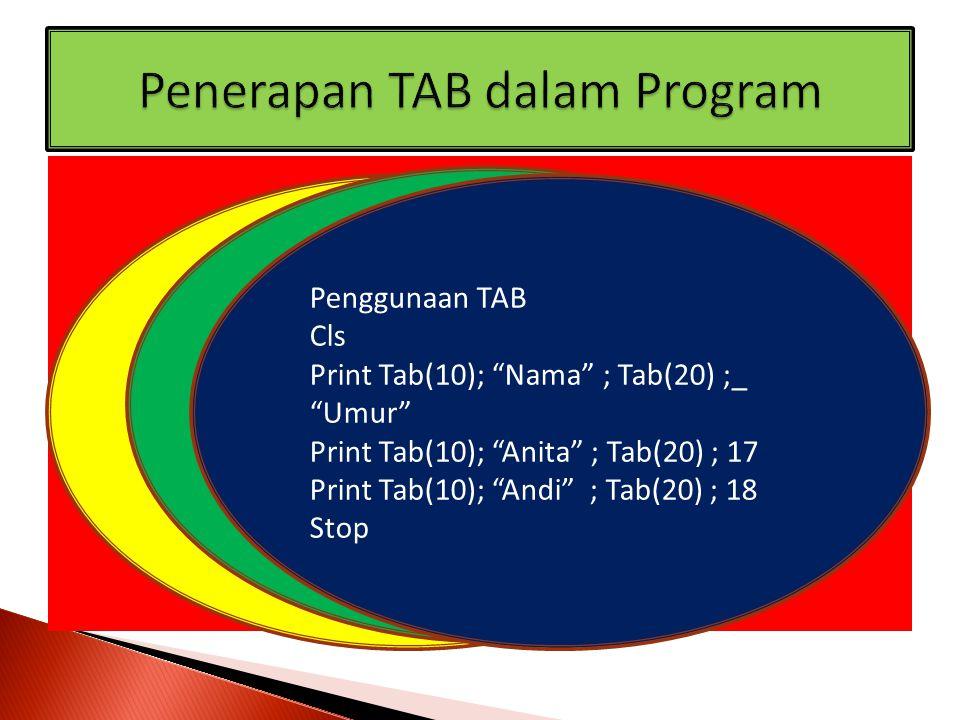 "Penggunaan TAB Cls Print Tab(10); ""Nama"" ; Tab(20) ; ""Umur"" Print Tab(10); ""Anita"" ; Tab(20) ; 17 Print Tab(10); ""Andi"" ; Tab(20) ; 18 Stop Penggunaan"