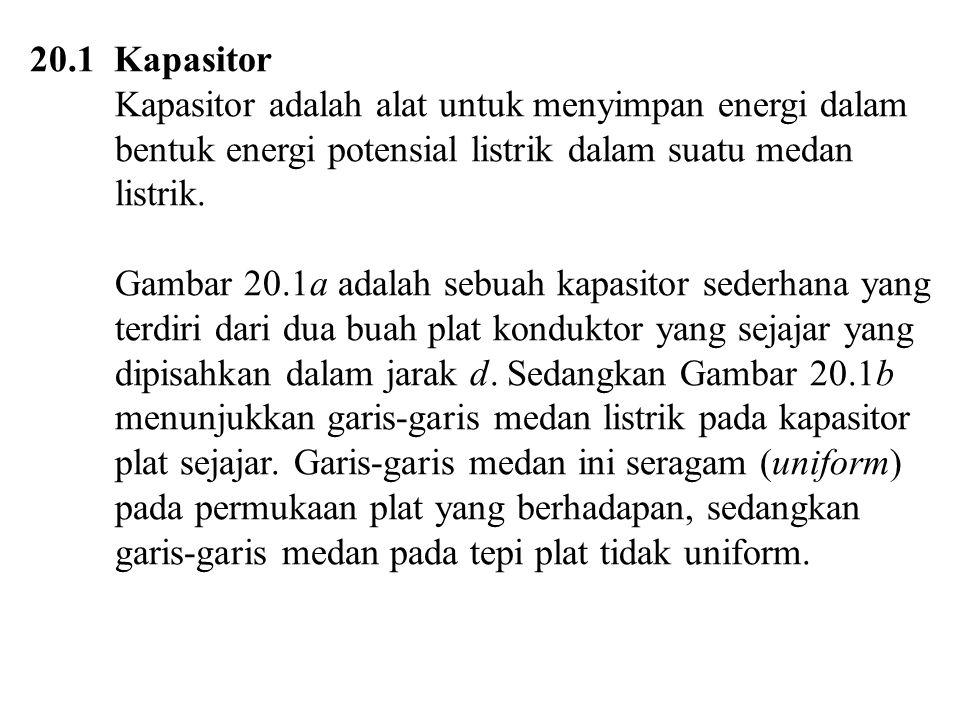 20.1 Kapasitor Kapasitor adalah alat untuk menyimpan energi dalam bentuk energi potensial listrik dalam suatu medan listrik. Gambar 20.1a adalah sebua
