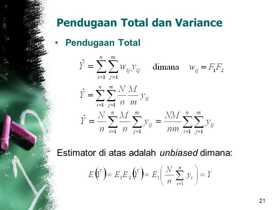 21 Pendugaan Total dan Variance Pendugaan Total Estimator di atas adalah unbiased dimana: