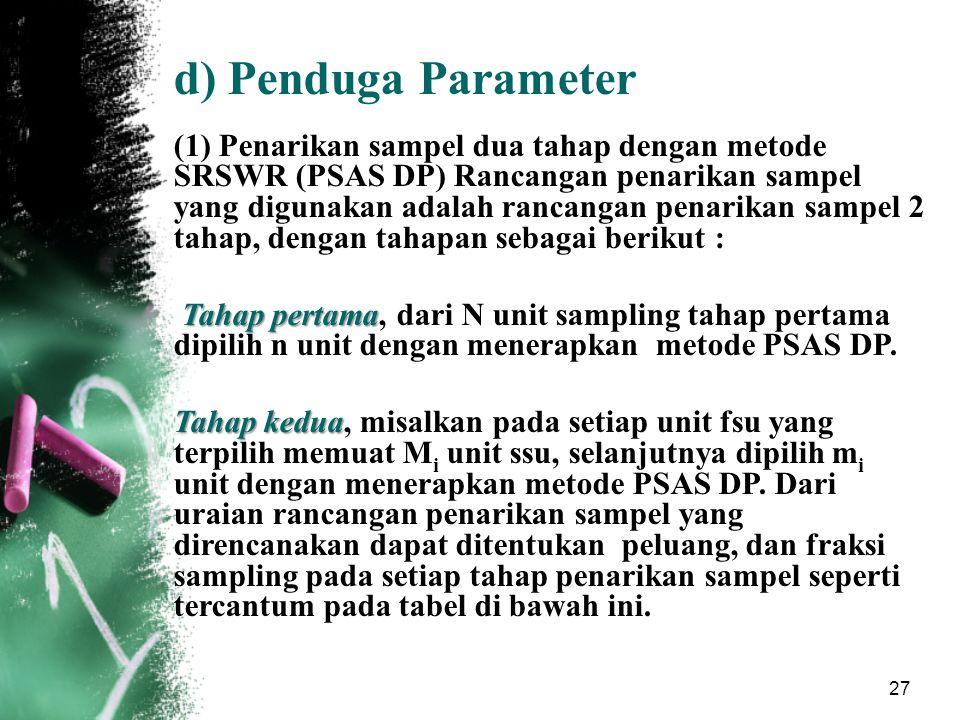27 d)Penduga Parameter (1) Penarikan sampel dua tahap dengan metode SRSWR (PSAS DP) Rancangan penarikan sampel yang digunakan adalah rancangan penarik