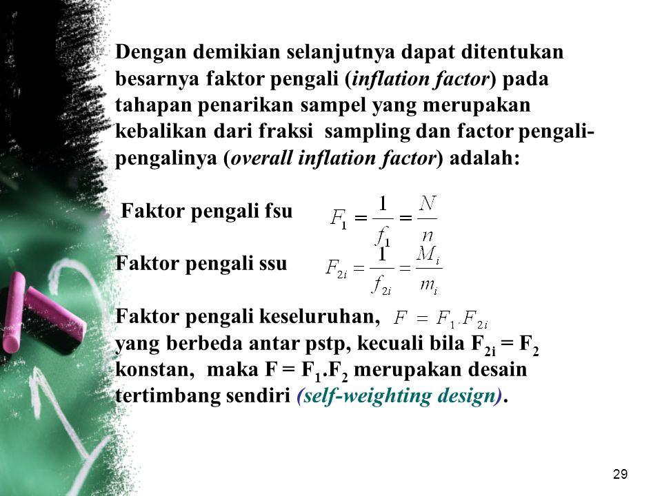 29 Dengan demikian selanjutnya dapat ditentukan besarnya faktor pengali (inflation factor) pada tahapan penarikan sampel yang merupakan kebalikan dari