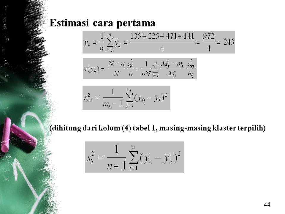 44 Estimasi cara pertama (dihitung dari kolom (4) tabel 1, masing-masing klaster terpilih)