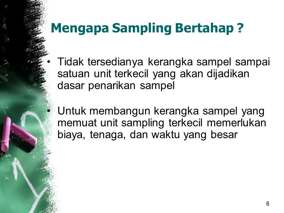 6 Mengapa Sampling Bertahap ? Tidak tersedianya kerangka sampel sampai satuan unit terkecil yang akan dijadikan dasar penarikan sampel Untuk membangun