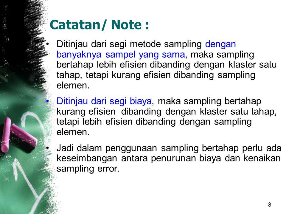 8 Catatan/ Note : Ditinjau dari segi metode sampling dengan banyaknya sampel yang sama, maka sampling bertahap lebih efisien dibanding dengan klaster