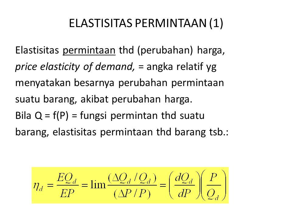 ELASTISITAS PERMINTAAN (1) Elastisitas permintaan thd (perubahan) harga, price elasticity of demand, = angka relatif yg menyatakan besarnya perubahan permintaan suatu barang, akibat perubahan harga.