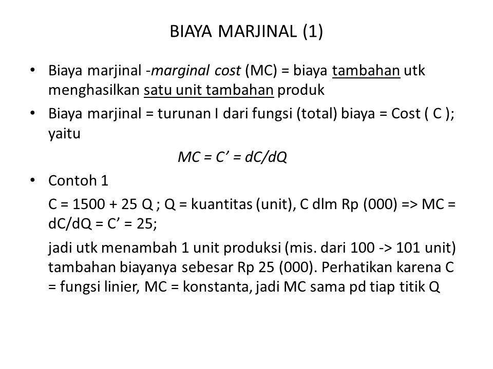 BIAYA MARJINAL (1) Biaya marjinal -marginal cost (MC) = biaya tambahan utk menghasilkan satu unit tambahan produk Biaya marjinal = turunan I dari fungsi (total) biaya = Cost ( C ); yaitu MC = C' = dC/dQ Contoh 1 C = 1500 + 25 Q ; Q = kuantitas (unit), C dlm Rp (000) => MC = dC/dQ = C' = 25; jadi utk menambah 1 unit produksi (mis.