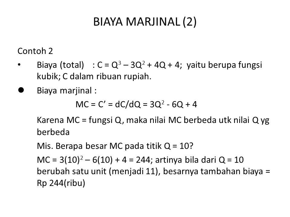 BIAYA MARJINAL (2) Contoh 2 Biaya (total) : C = Q 3 – 3Q 2 + 4Q + 4; yaitu berupa fungsi kubik; C dalam ribuan rupiah.