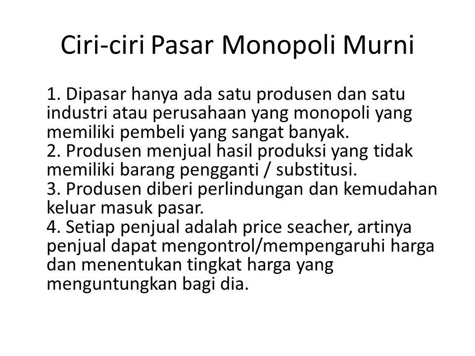 Ciri-ciri Pasar Monopoli Murni 1.