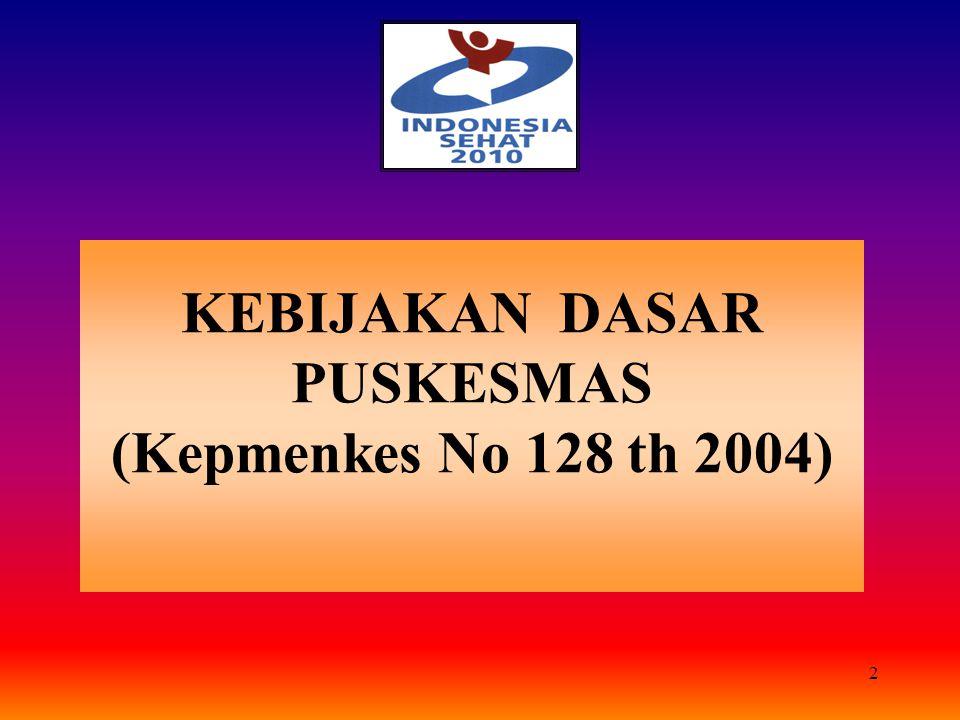 2 KEBIJAKAN DASAR PUSKESMAS (Kepmenkes No 128 th 2004)