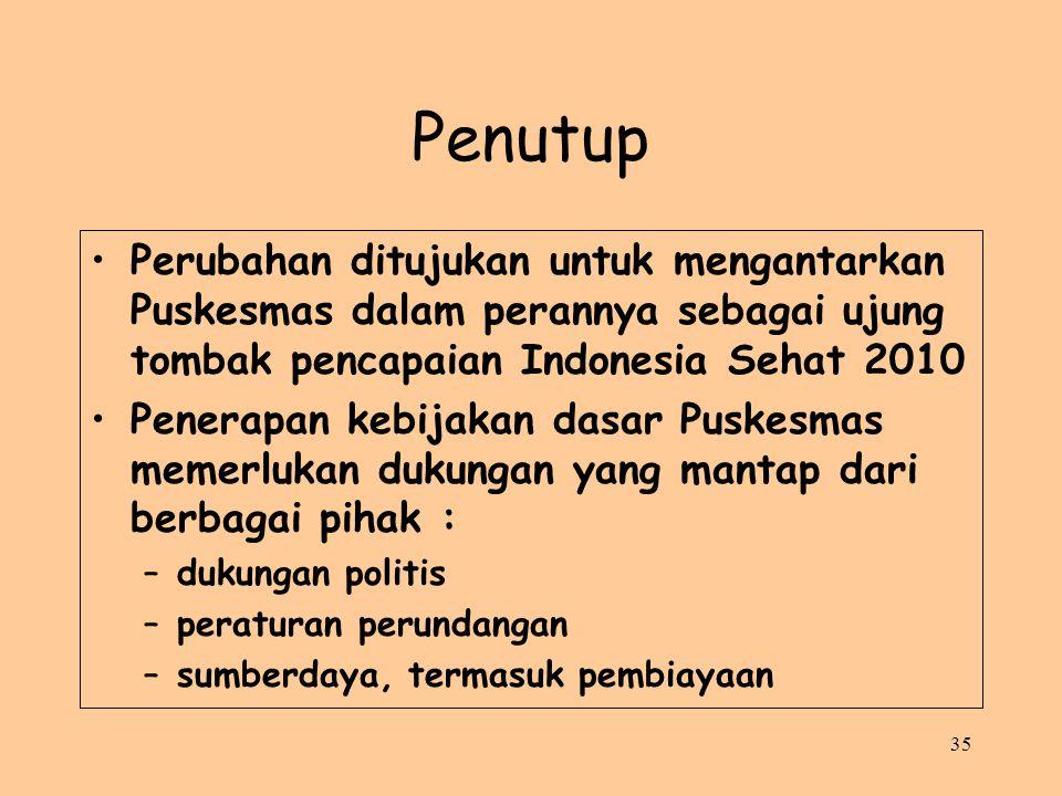 35 Penutup Perubahan ditujukan untuk mengantarkan Puskesmas dalam perannya sebagai ujung tombak pencapaian Indonesia Sehat 2010 Penerapan kebijakan da