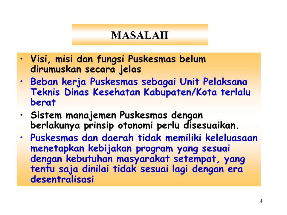 4 MASALAH Visi, misi dan fungsi Puskesmas belum dirumuskan secara jelas Beban kerja Puskesmas sebagai Unit Pelaksana Teknis Dinas Kesehatan Kabupaten/