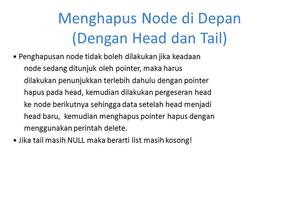 Menghapus Node di Depan (Dengan Head dan Tail) Penghapusan node tidak boleh dilakukan jika keadaan node sedang ditunjuk oleh pointer, maka harus dilak