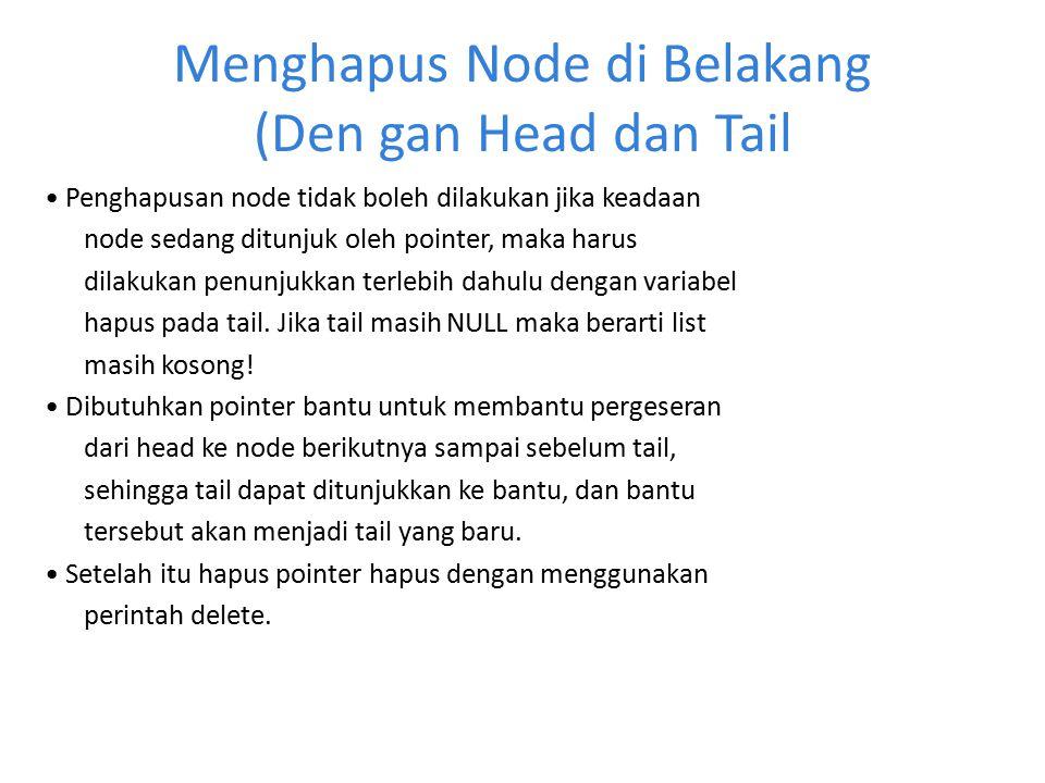 Menghapus Node di Belakang (Den gan Head dan Tail Penghapusan node tidak boleh dilakukan jika keadaan node sedang ditunjuk oleh pointer, maka harus di