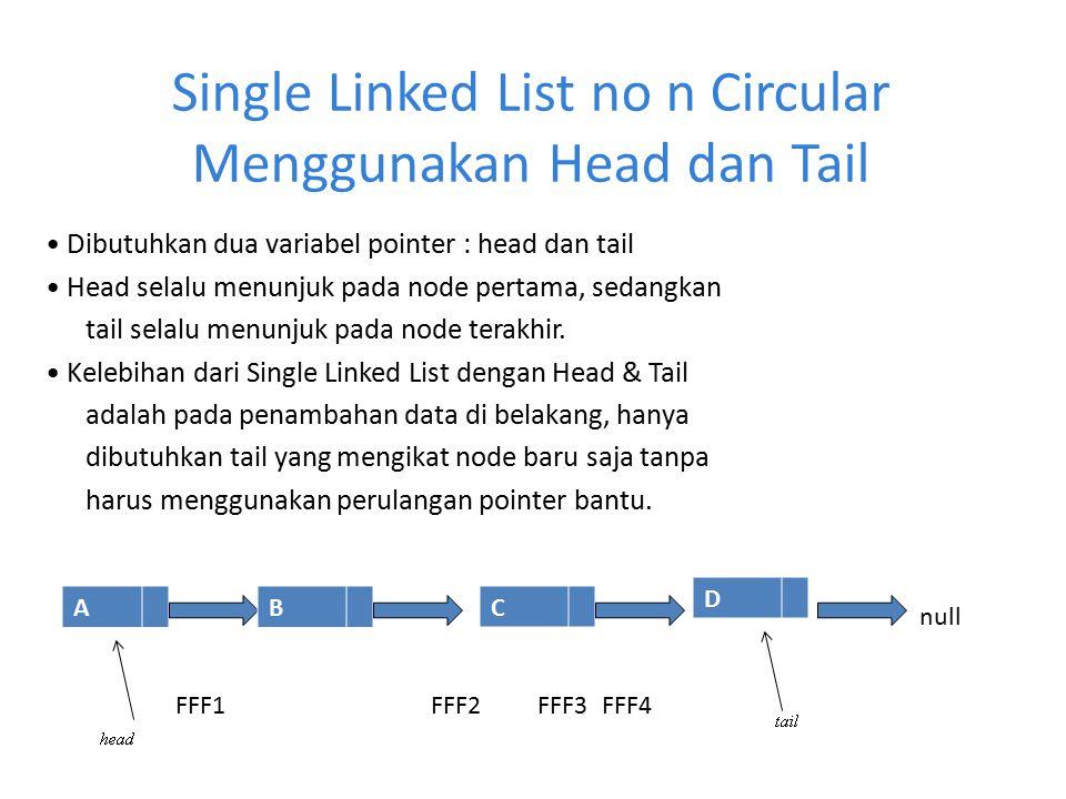 Single Linked List no n Circular Menggunakan Head dan Tail Dibutuhkan dua variabel pointer : head dan tail Head selalu menunjuk pada node pertama, sed