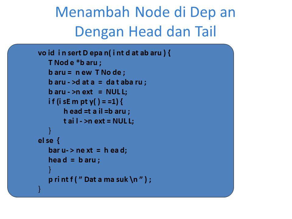 Menambah Node di Dep an Dengan Head dan Tail vo id i n sert D epa n( i nt d at ab aru ) { T Nod e *b aru ; b aru = n ew T No de ; b aru - >d at a = da