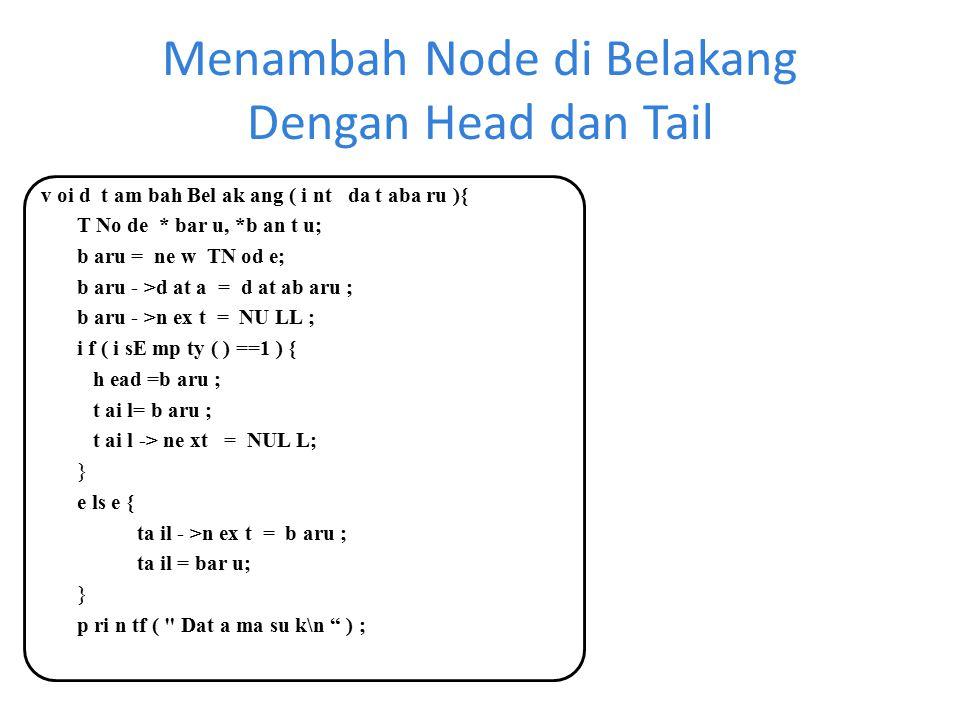 Menambah Node di Belakang Dengan Head dan Tail v oi d t am bah Bel ak ang ( i nt da t aba ru ){ T No de * bar u, *b an t u; b aru = ne w TN od e; b ar