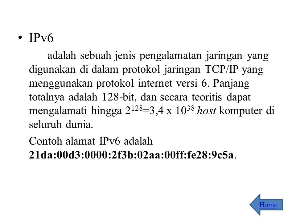 IPv4 adalah sebuah jenis pengalamatan jaringan yang digunakan di dalam protokol jaringan TCP/IP yang menggunakan Protokol IP versi 4. Panjang totalnya