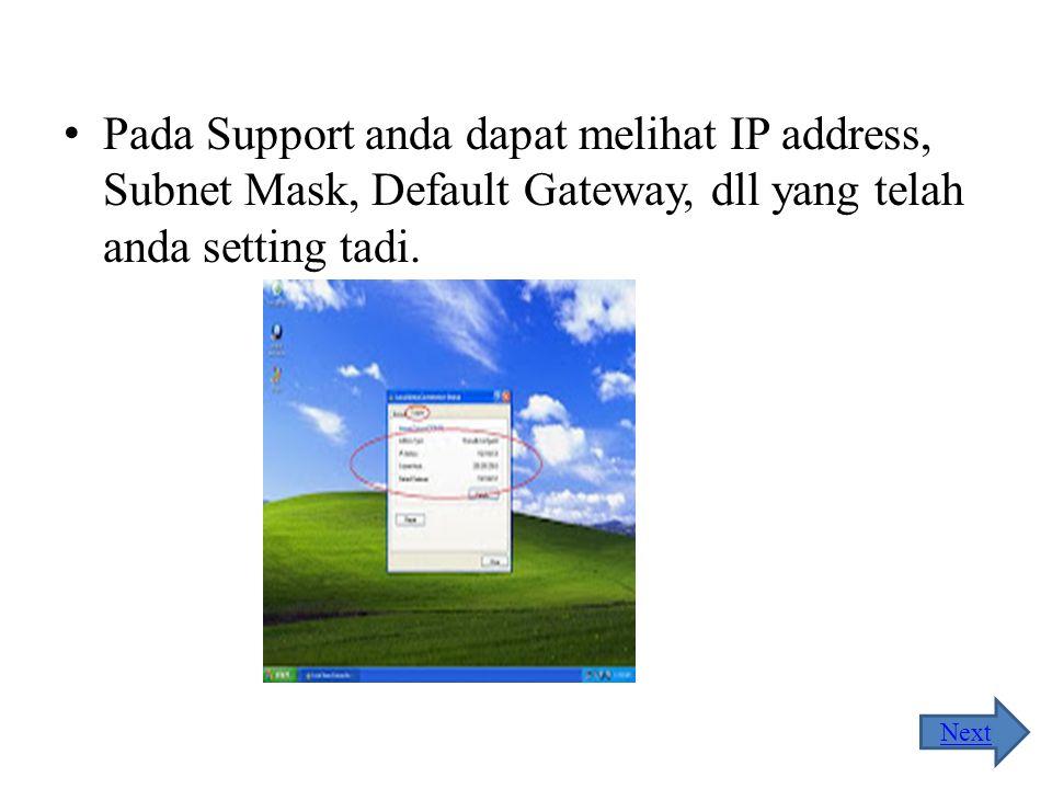 Akan muncul tampilan seperti pada gambar di bawah ini, anda dapat melihat status koneksi LAN dan kecepatannya. Kecepatan pengiriman dan penerimaan dat