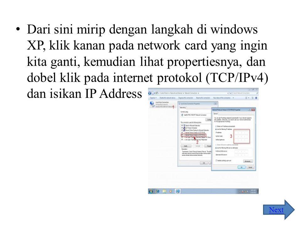 Dari layar yang tampak, klik change adapter settings, untuk menampilkan network card yang terdeteksi windows Next